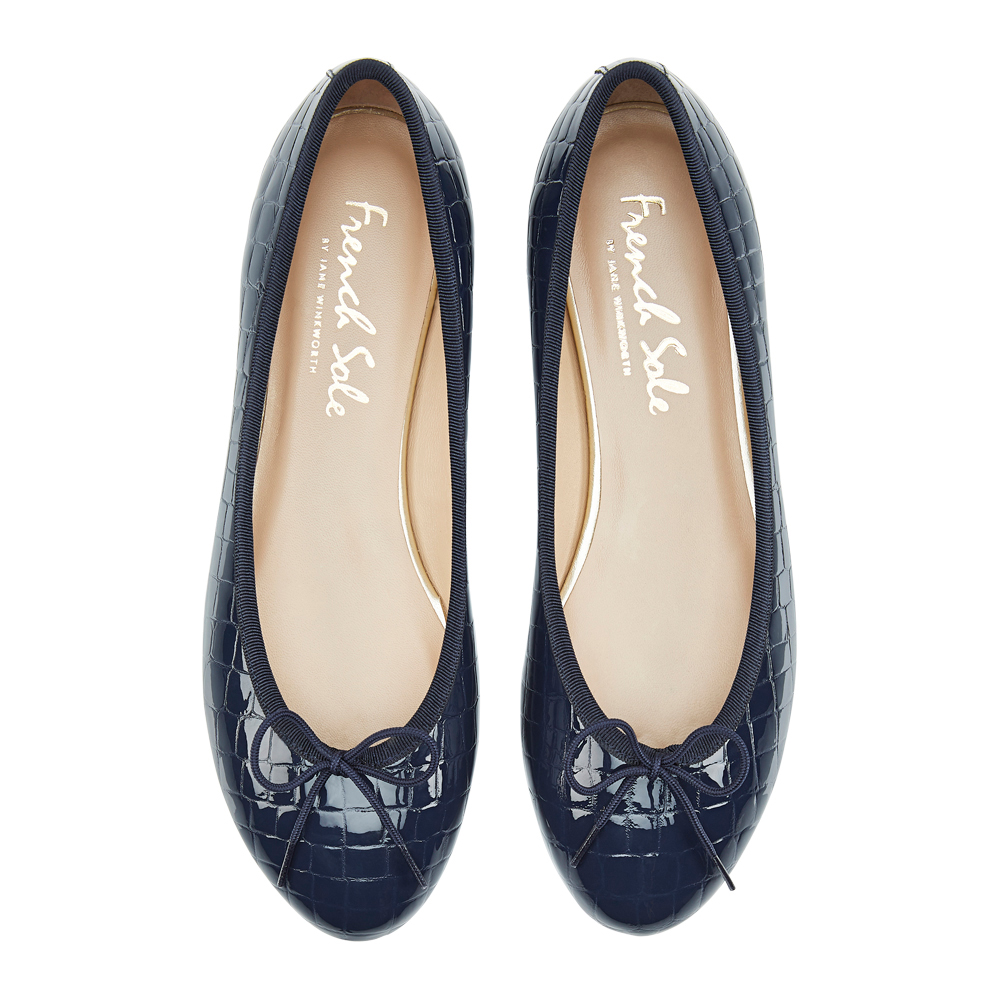 Amelie Navy Patent Crocodile Leather (AML168)