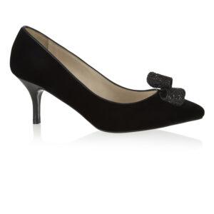 Image 1 for Brenda Heel Black Velvet Glitter Bow (BMH02)