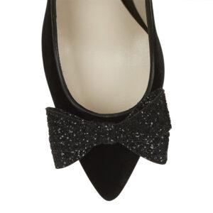 Image 2 for Brenda Heel Black Velvet Glitter Bow (BMH02)