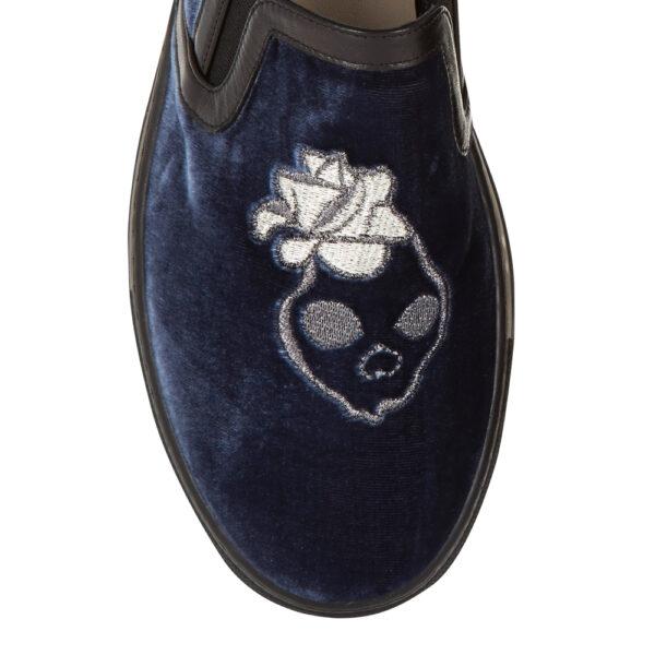 Image 2 for Board Walker Blue Velvet Skull Embroidery (BW44)
