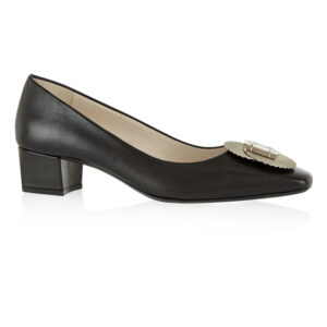 Image 1 for Carla Heel Black Leather With Metal Trim (CAR04)