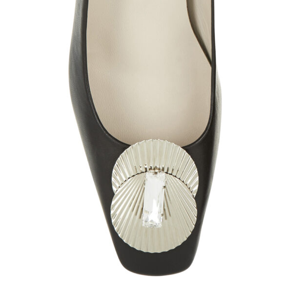 Image 2 for Carla Heel Black Leather With Metal Trim (CAR04)