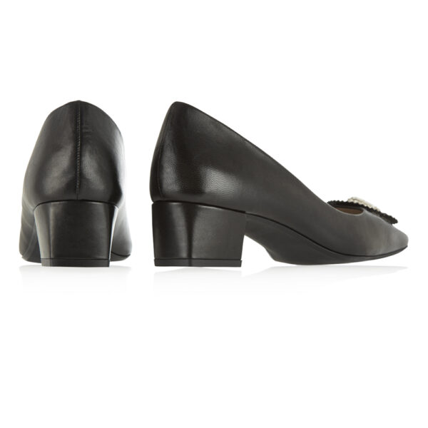 Image 4 for Carla Heel Black Leather With Metal Trim (CAR04)