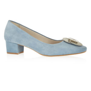 Image 1 for Carla Heel Blue Suede With Metal Trim (CAR05)