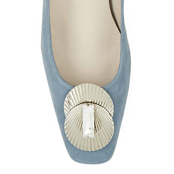 Image 2 for Carla Heel Blue Suede With Metal Trim (CAR05)