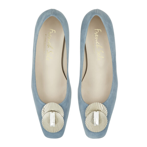 Image 3 for Carla Heel Blue Suede With Metal Trim (CAR05)