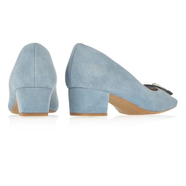 Image 4 for Carla Heel Blue Suede With Metal Trim (CAR05)