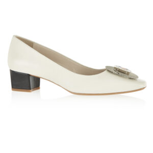 Image 1 for Carla Heel White Leather With Metal Trim (CAR06)