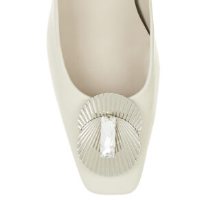Image 2 for Carla Heel White Leather With Metal Trim (CAR06)