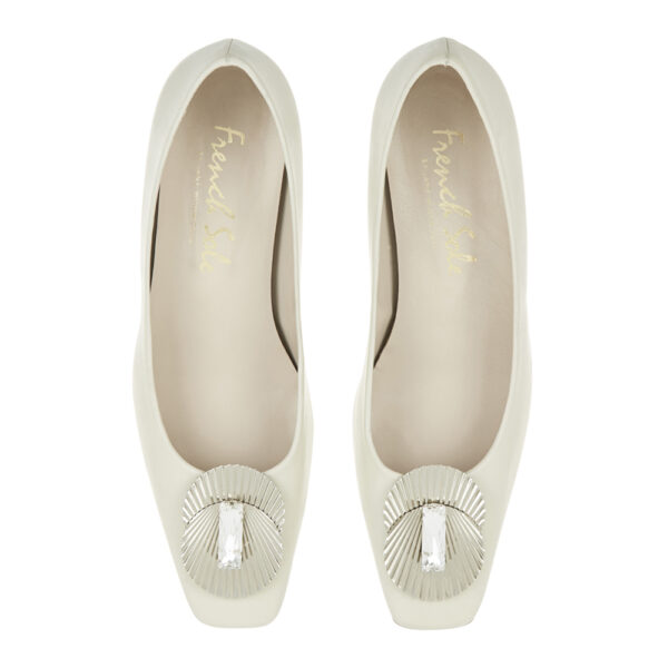 Image 3 for Carla Heel White Leather With Metal Trim (CAR06)