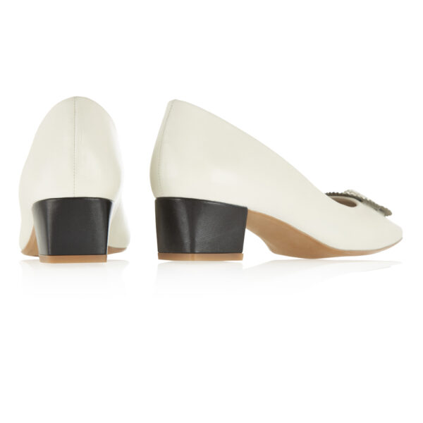 Image 4 for Carla Heel White Leather With Metal Trim (CAR06)
