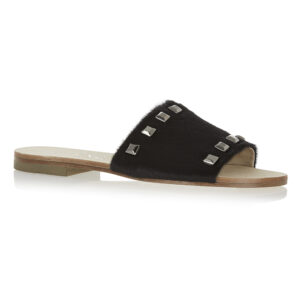 Image 1 for Crosspatch Sandal Black Calf Hair With Studs (CRS17)