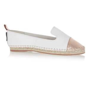 Image 1 for Espadrille White Leather Metallic Toecap (ESP28)
