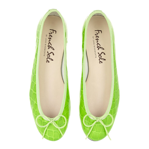 Image 3 for Henrietta Lime Green Patent Crocodile (HE1052)