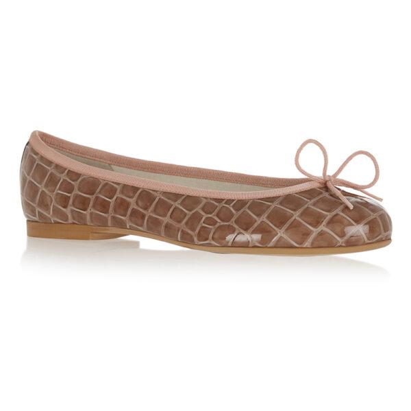 Image 1 for Henrietta Dusky Pink Patent Crocodile (HE1131)