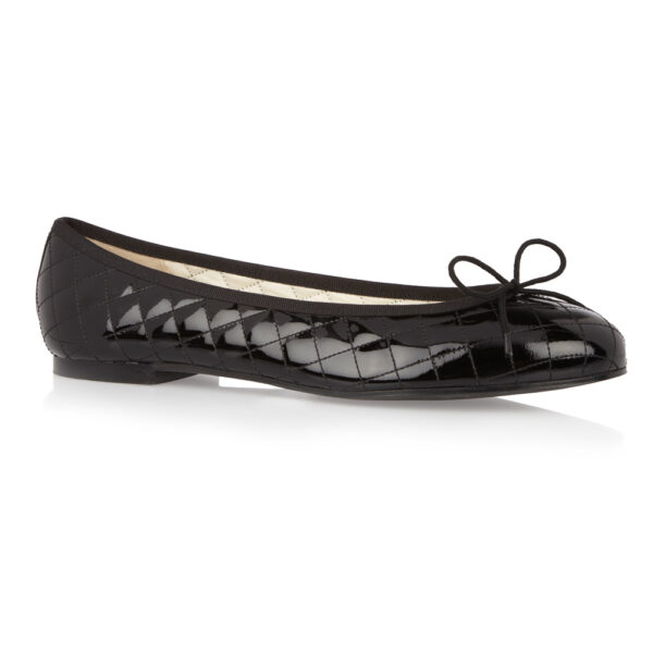 Image 1 for Henrietta Black Quilted Patent Leather (HE117)