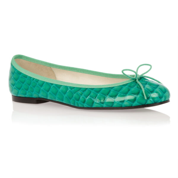 Image 1 for Henrietta Turquoise Patent Crocodile (HE571)