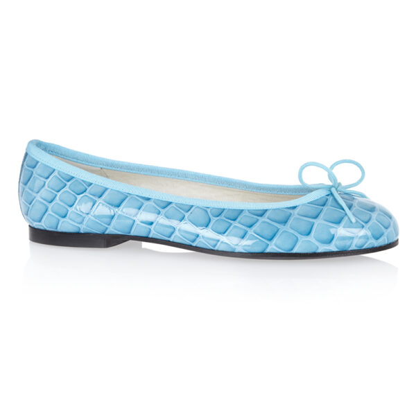 Image 1 for Henrietta Pale Blue Patent Crocodile (HE670)