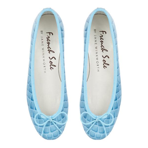 Image 3 for Henrietta Pale Blue Patent Crocodile (HE670)