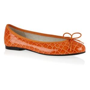 Image 1 for Henrietta Orange Patent Crocodile (HE884)