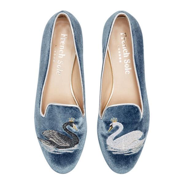 Image 3 for Hefner Blue Velvet Black Swan White Swan Embroidery (HFF1155)
