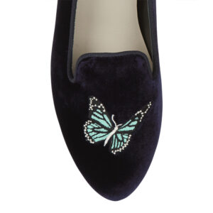 Image 2 for Hefner Navy Velvet Butterfly Emb (HFF144)