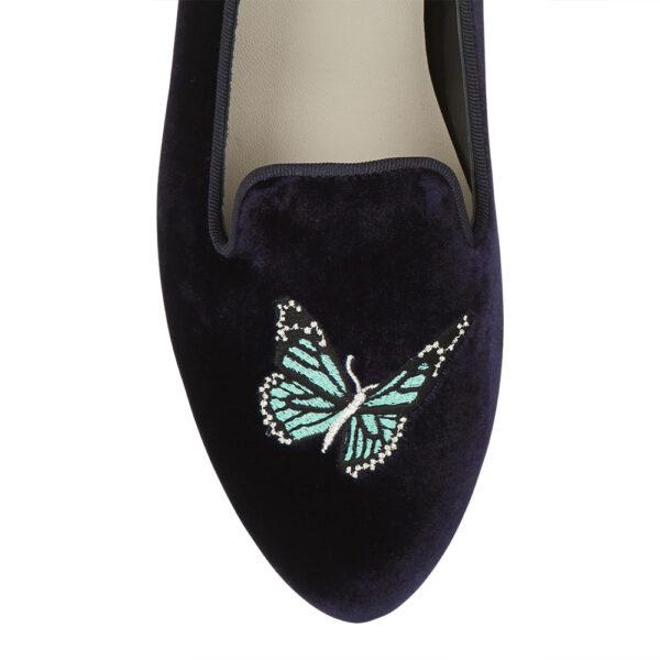 Image 2 for Hefner Navy Velvet Butterfly Emb (HFF144)