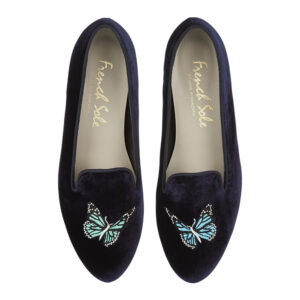 Image 3 for Hefner Navy Velvet Butterfly Emb (HFF144)