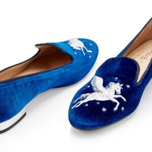 Image 2 for Hefner Royal Blue Velvet Pegasus Embroidery (HFF223)
