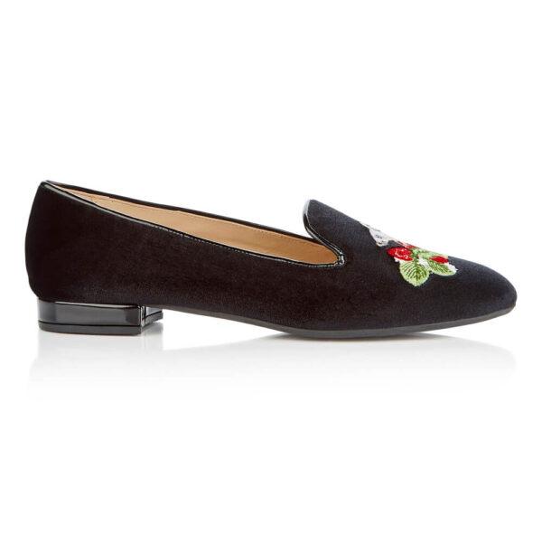 Image 1 for Hefner Black Velvet Mouse Strawberries Embroidery (HFF224)
