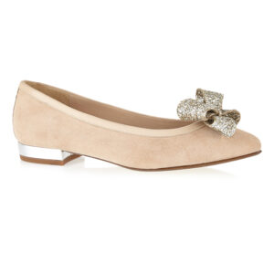 Image 1 for Knightsbridge Beige Suede With Glitter Bow (KNS13)