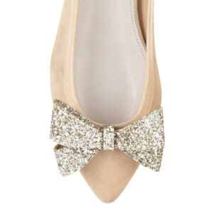 Image 2 for Knightsbridge Beige Suede With Glitter Bow (KNS13)