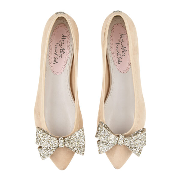 Image 3 for Knightsbridge Beige Suede With Glitter Bow (KNS13)