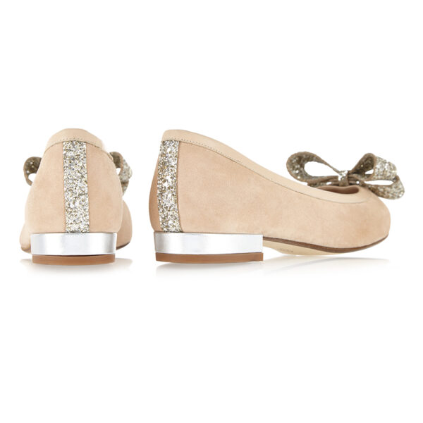 Image 4 for Knightsbridge Beige Suede With Glitter Bow (KNS13)