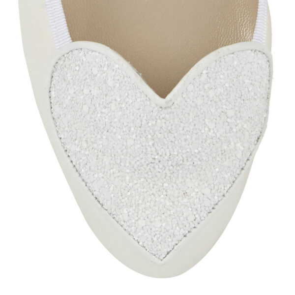 Image 2 for Love Heart Ivory Satin And Glitter (LH29)