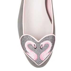 Image 2 for Love Heart Grey Suede Flamingo Heart (LH49)