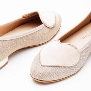 Image 2 for Love Heart Pink Linen Glitter Heart (LH72)