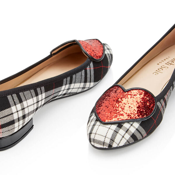Image 2 for Love Heart Black Grey Tartan Red Glitter (LH920)