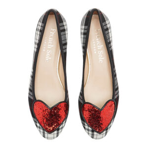 Image 3 for Love Heart Black Grey Tartan Red Glitter (LH920)