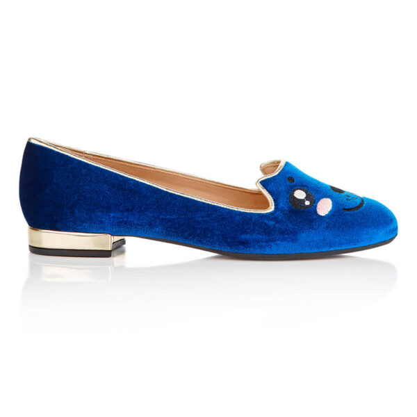 Image 1 for Opera Slipper Royal Blue Velvet (OPR115)