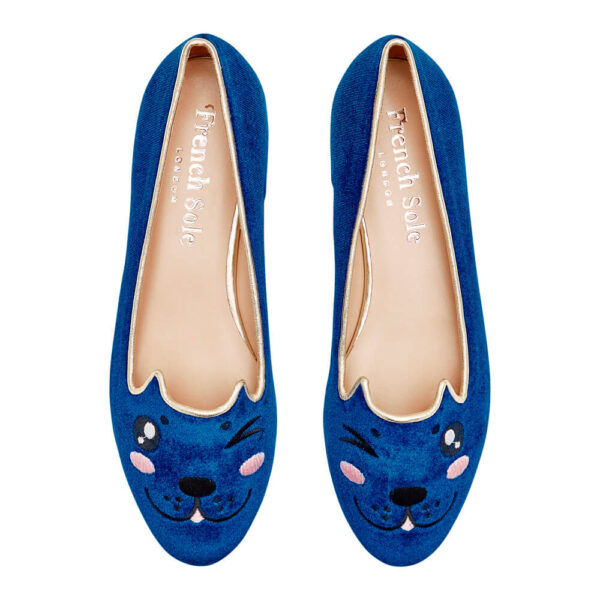 Image 3 for Opera Slipper Royal Blue Velvet (OPR115)