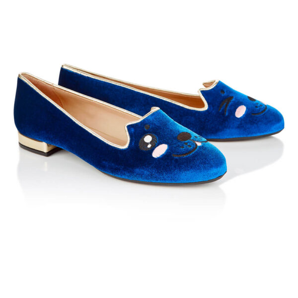 Image 4 for Opera Slipper Royal Blue Velvet (OPR115)
