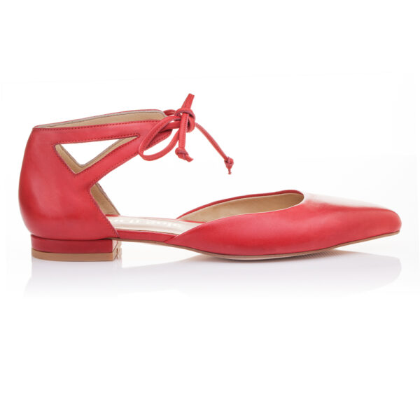 Image 1 for Penelope Ankle Tie Red Napa Leather (PAT02)