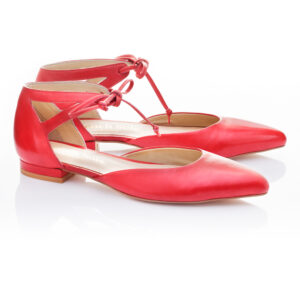 Image 2 for Penelope Ankle Tie Red Napa Leather (PAT02)