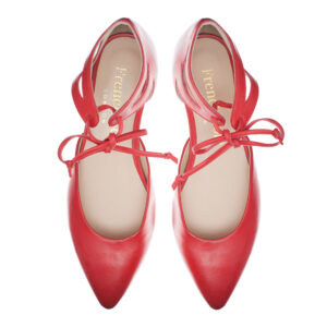 Image 4 for Penelope Ankle Tie Red Napa Leather (PAT02)