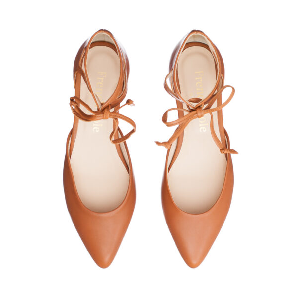 Image 1 for Penelope Ankle Tie Tan Leather (PAT03)