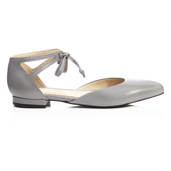 Image 1 for Penelope Ankle Tie Grey Leather (PAT04)