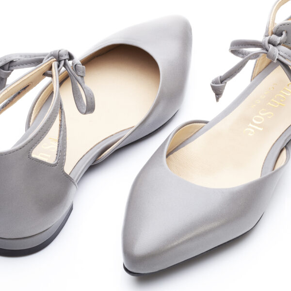 Image 2 for Penelope Ankle Tie Grey Leather (PAT04)