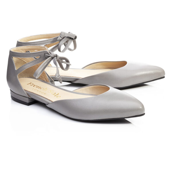 Image 4 for Penelope Ankle Tie Grey Leather (PAT04)