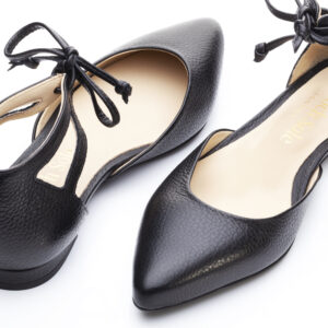 Image 2 for Penelope Ankle Tie Black Leather (PAT05)